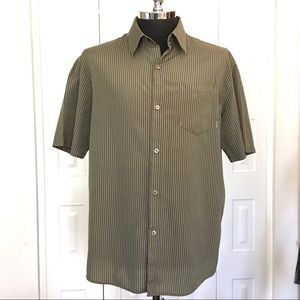 HURLEY brown stripe short sleeve casual shirt XL